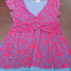 Anthropologie Ric Rac Red & Blue Floral Top sz sm